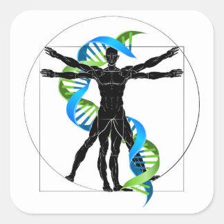 DNA Vitruvian Man Square Sticker