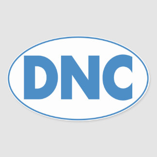 DNC Oval Sticker in White, Sheet of four