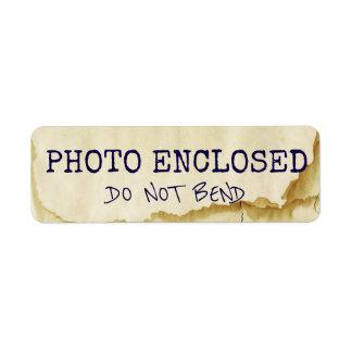 Do Not Bend Warning Stained Artwork Photo Return Address Label