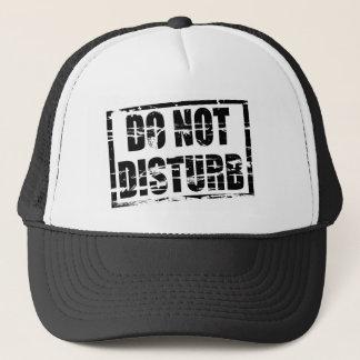 Do not disturb rubber stamp effect trucker hat
