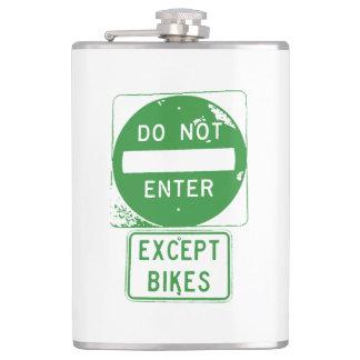 Do Not Enter Except Bikes Hip Flask