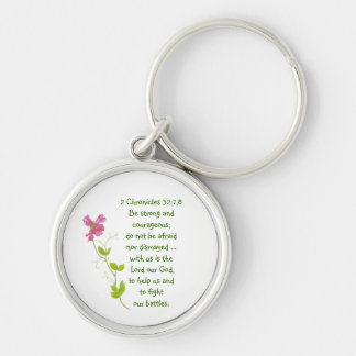 Do Not Fear, Courage Scriptures Sweet Pea Locket Silver-Colored Round Keychain
