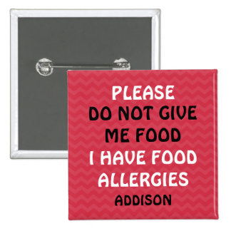 Do Not Feed Food Allergy Alert Red Pin