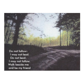 DO NOT FOLLOW I MAY NOT LEAD POSTCARD