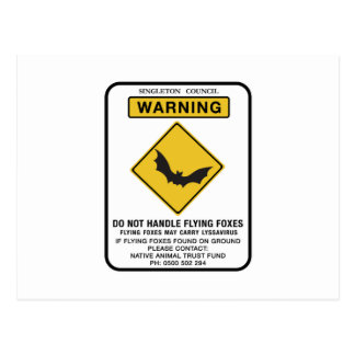 Do Not Handle Flying Foxes, Traffic Sign, AU Postcard