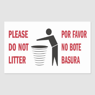 Do Not Litter sign English Spanish Sticker