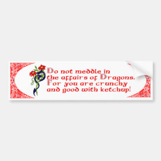 Do not meddle in the affairs of Dragons. Car Bumper Sticker