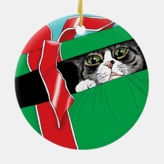 Do not Open till Christmas Round Ceramic Ornament