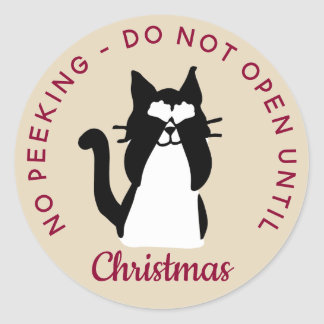 Do Not Open Until Christmas Peekaboo Kitty Cat Classic Round Sticker