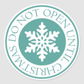 Do Not Open Until Christmas Snowflake Blue Green Classic Round Sticker