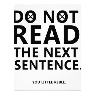 Do not Read The Next Sentence  You Little Reble Letterhead
