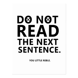Do not Read The Next Sentence  You Little Reble Postcard