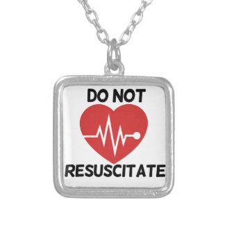 Do not resuscitate square pendant necklace