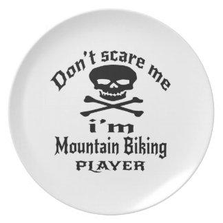 Do Not Scare Me I Am Mountain Biking Player Plate