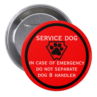 Do Not Separate Dog and Handler Black Paw 3 Inch Round Button