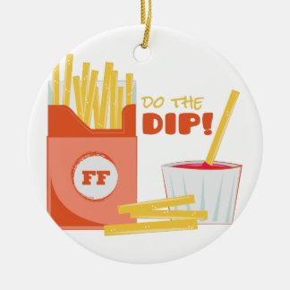 Do The Dip Round Ceramic Ornament
