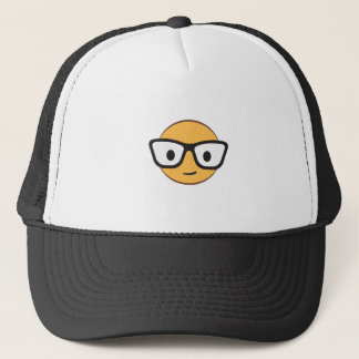 Do these glasses make me look happy? trucker hat
