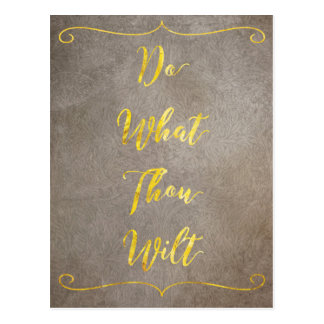 Do What Thou Wilt - Gold on Brown Postcard