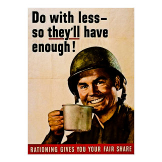 Do With Less - Vintage WWII Rationing Poster