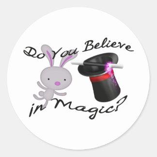 Do You Believe In Magic Top Hat & Rabbit Classic Round Sticker