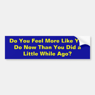 Do You Feel More Like You Do Now Than You Did a... Bumper Sticker