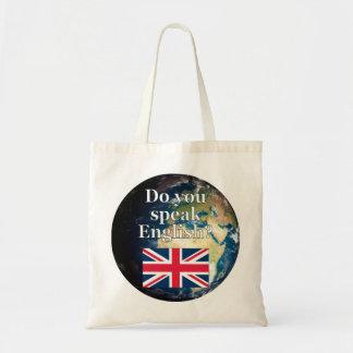 """Do you speak English?"" in English. Flag & Earth"