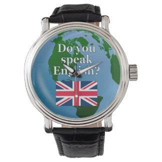 """Do you speak English?"" in English. Flag & globe Wristwatch"