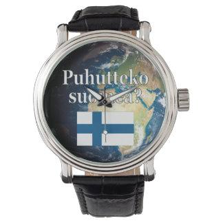 Do you speak Finnish? in Finnish. Flag & Earth Wrist Watch