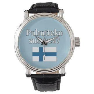 Do you speak Finnish? in Finnish. Flag Wristwatches