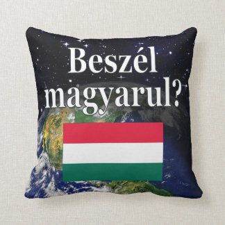 Do you speak Hungarian? in Hungarian. Flag & Earth Throw Pillow