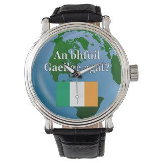 Do you speak Irish? in Irish. Flag & globe Watch