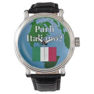 Do you speak Italian? in Italian. Flag & globe Wristwatch