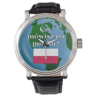 Do you speak Polish? in Polish. Flag & globe Wrist Watch