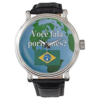 Do you speak Portuguese? in Portuguese. Flag globe Wrist Watch