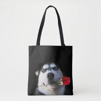 Do You Tango?  Beautiful Husky and Rose Tote Bag