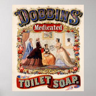 Dobbins' medicated toilet soap poster