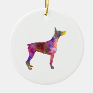 Doberman 01 in watercolor 2 ceramic ornament