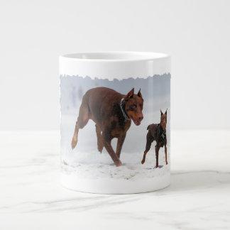 Doberman and Min Pin - LOOK! A Mini Me! Giant Coffee Mug