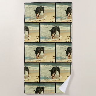 Doberman at the Beach Painting Image Beach Towel