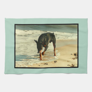 Doberman at the Beach Painting Image Kitchen Towel