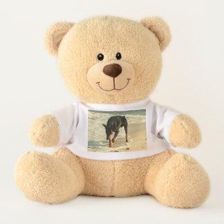 Doberman at the Beach Painting Image Teddy Bear