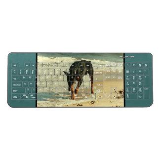 Doberman at the Beach Painting Image Wireless Keyboard