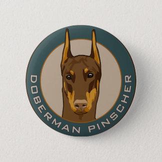 Doberman Badge, Red 2 Inch Round Button