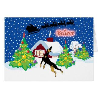 Doberman Believe In Santa Christmas Card