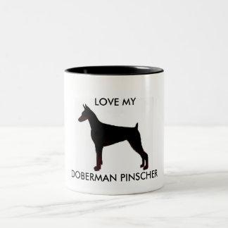 doberman black, LOVE MY, DOBERMAN PINSCHER Two-Tone Coffee Mug