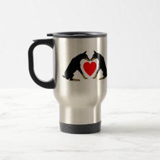 Doberman (Black/Tan) Heart Travel Mug