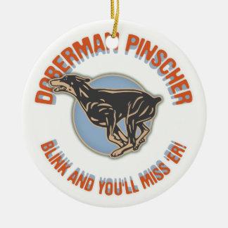 Doberman Blink Round Ceramic Ornament