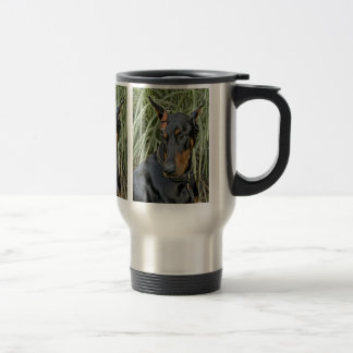 Doberman Butterfly Surprise Travel Mug