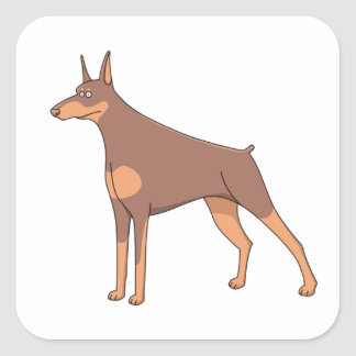 doberman cartoon 2 square sticker