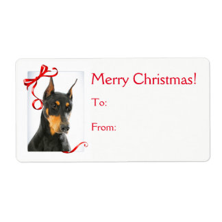 Doberman Christmas Gift Stickers